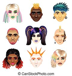 original, jeunesse, gens font face, icônes, vecteur, ensemble