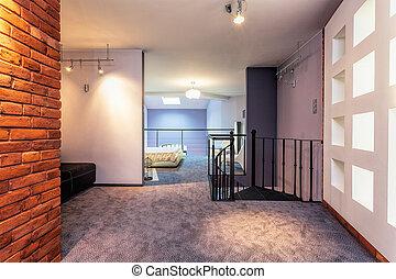 Original loft - Interior of a modern loft in a purple