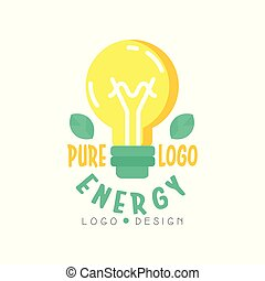 Original logo design template with electric light bulb, green leaves and text. Alternative pure energy concept. Flat vector isolated on white