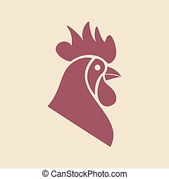 Original logo template with rooster mascot. Vector...