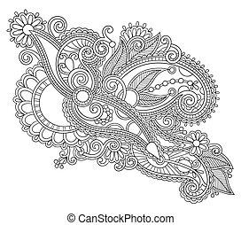 original, mano, empate, arte de línea, florido