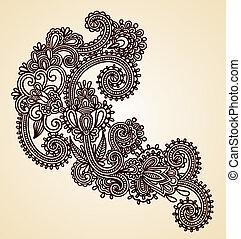 original, mano, empate, arte de línea, florido, flor, diseño