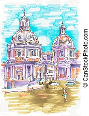 original marker painting of Rome Italy cityscape