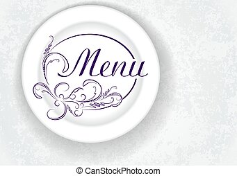Original menu design with plate. Vector illustration.
