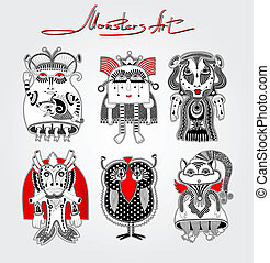doodle fantasy monster personage - original modern cute...