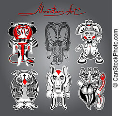 original modern cute ornate doodle fantasy monster personage collection . Karakoko style