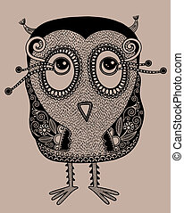 original modern cute ornate doodle fantasy owl