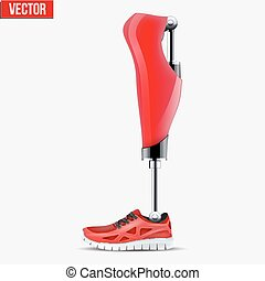 Original Modern Prosthetic leg mechanism. Red color. Vector...