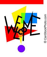 original, modernos, mão, lettering, composição, bem-vindo