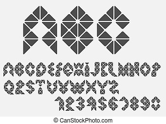 Original mosaic Alphabet. Vector eps10