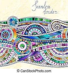 Original mosaic drawing tribal doddle ethnic pattern. Seamless border with geometric elements.
