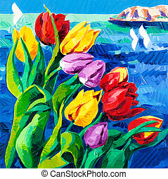 Original oil painting of beautiful Tulips(Tulipa) in front of ocean on canvas. Modern Impressionism