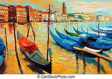 Venice, Italy - Original oil painting of beautiful Venice, ...