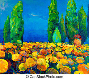 Original oil painting of green trees and yellow flowers on canvas. Landscape. Modern Impressionism
