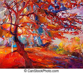 Autumn tree - Original oil painting showing beautiful Autumn...