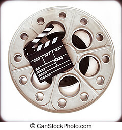 Original old movie reel for 35mm film projector with clapper...