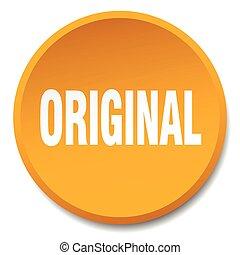 original orange round flat isolated push button