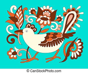 original oriental decorative ethnic bird with flowers, ethno ukr