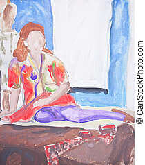 Original painting of woman sitting on bed