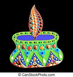 original painting with jewels and pearls of diwali lantern diya,