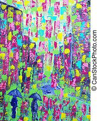 original, peinture, sur, toile, pour, fond, ou, concept, impressionniste, peinture, de, personnes, à, parapluie