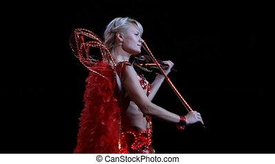 Original performance of violinist - Beautiful blonde girl...