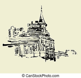 original picture of Kiev historical building - sketch hand...