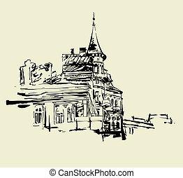 original picture of Kiev historical building - sketch hand...