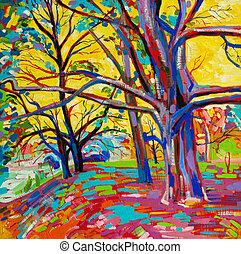original, pintura óleo, floresta, em, spring., modernos, impressionismo