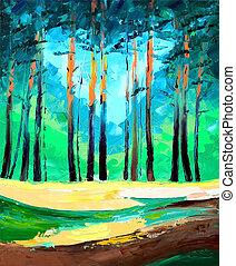 original, pintura óleo, floresta pinho