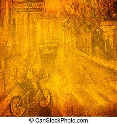 original, pintura óleo, ligado, a, cidade velha, rua, lona.