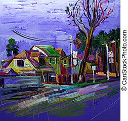 original, pintura óleo, país, antes de, um, rain., modernos, impressão