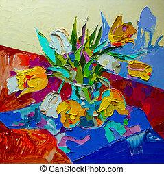 original, pintura óleo, vida, com, tulipa, primavera, flower., mo