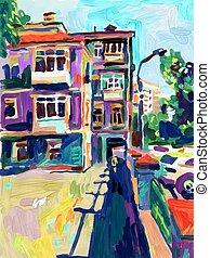 original, plein, ar, digital, pintura óleo, cidade, antigas, rua, em, verão