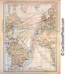 Old map of Steamship lines through Atlantic