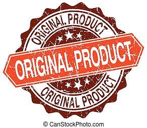 original product orange round grunge stamp on white