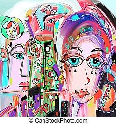original, résumé, numérique, peinture, de, visage humain,...
