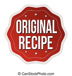 Original recipe label or sticker