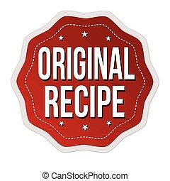 Original recipe label or sticker