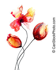 Original red flowers, watercolor illustration