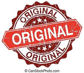 original red round grunge stamp on white