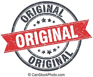 original red round grunge vintage ribbon stamp