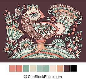 original retro cartoon chicken drawing, symbol of 2017 new...