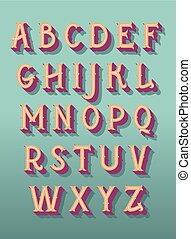 Original retro font. Vector alphabet
