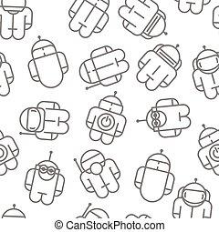 Original Robot droid. seamless pattern