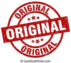 original round red grunge stamp