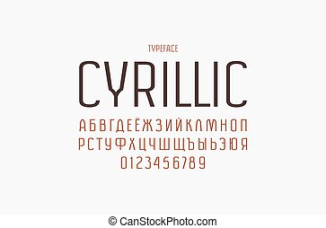 Original sans serif font. Thin line face. Cyrillic letters and numbers for logo and emblem design. Color print on white background
