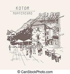 original sepia sketch drawing of Kotor street