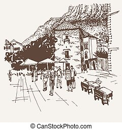 original sepia sketch drawing of Kotor street - famous place in