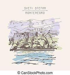 original sepia sketch drawing of Sveti Stefan island in...